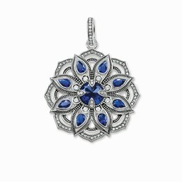 multilayer chains UK - Blue CZ Lotus Flower Multilayer Pendants for Necklace Women Thomas Style Soul 925 Sterling Silver Fashion DIY Jewelry 2019 New