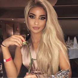 Synthetic wavy ombre hair online shopping - Beautiful Long ombre Blonde Wavy Wig baby hair heat resistant hair density synthetic lace front wig Honey Blonde wigs for women