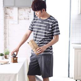 2019 New Style Summer Striped Mens Pajamas Short Sleeve 100% Cotton Shorts Set Leisure Home Wear Set Wholesale Xl-xxxl Men's Sleep & Lounge Men's Pajama Sets