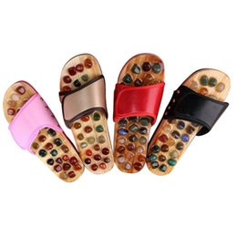 Chinese  Slipper Massage Pebble Stone Reflexology Massage Feet Acupuncture Health Shoes Sandal Massage Slippers 5Color Healthy MP0039 manufacturers