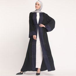 Dubai Clothing For Women UK - Kaftan Abaya Dubai Turkey Robe Cardigan Hijab Muslim Dress Qatar UAE Caftan Elbise Abayas For Women Turkish Islamic Clothing