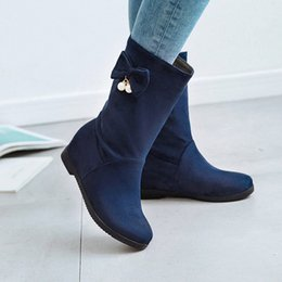 f154af83347 Korean casual style round head nubuck mid calf boots fashion beaded bowknot  increasing high heel women s motorcycle boots
