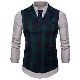 $enCountryForm.capitalKeyWord NZ - Lasperal Spring And Autumn Men's Suit Double-breasted Plaid Vest British Wind Double Pocket Lapel Large Size Men's Vest Y190417