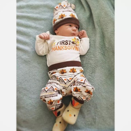 Wholesale clothes turkey for sale - Group buy Newborn Baby Boys Girls Clothes My First Thanksgiving Romper Pants Hat Set Outfits Baby Turkey Geometric Kid Clothing Boutique M