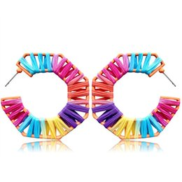 Oval shape earrings online shopping - Bohemian Colorful Raffia Knit Big C Shaped Earrings For Women New Rainbow Color Big Oval Geometry Straw Earring Handmade Ethnic Jewelry
