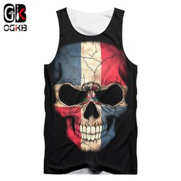 $enCountryForm.capitalKeyWord Australia - Ogkb Unisex Hiphop O-neck Sleeveless Shirts 2018 Summer Tops Women men Cool Print Flag Skull 3d Tank Top Man Brand Gyms Clothes Y19071701