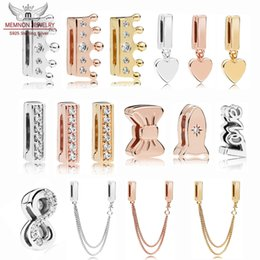 Großhandel 100% 925 Sterling Silber Reflexionen Herz Anhänger Clip Charms leuchten Bogen Perlen Rose Sicherheitskette Charme Fit Perle Armband Original DIY machen