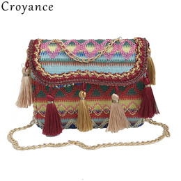 $enCountryForm.capitalKeyWord Australia - Croyance Women Handbags Wool Knit Shoulder Bags Bohemian Style Tassel Messenger Bag Crossbody Phone Purse