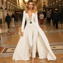 Winter White Dress Coats Australia - Modest White Jumpsuit Evening Dresses with Coat Deep V Neck Appliques Ankle Length Celebrity Gown Custom Made Women's Red Carpet Dress