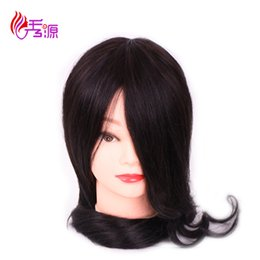 Discount doll heads hair - 14 16 18 Inch 100% Real Human Hair Natural Black Training Hairdressing Doll Mannequins Human Training Heads Processional