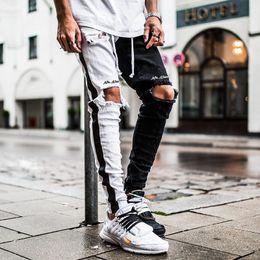 Wholesale mens striped trousers resale online – Mens Designer Ripped Jeans Hole Distressed striped Zipper Jeans Trousers Slim Hip Hop Biker Denim Pants Skinny cny1632
