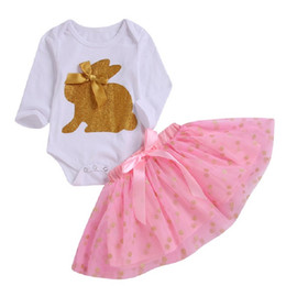 China Children Suit Long Sleeve Girls Baby Mesh Skirt Shorts Solid Color Round Neck Short Skirt Bow Tie Easter Rabbit Print Suit 61 cheap black short sleeve skirt suit suppliers