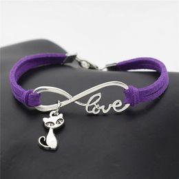 $enCountryForm.capitalKeyWord NZ - Unisex 100% Handwoven Purple Leather Rope Cuff Bangles Bracelet For Women Men Infinity Love Cute Cat Fox Animal Charm Wristband Wrap Jewelry