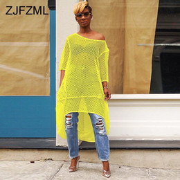 $enCountryForm.capitalKeyWord Australia - Fishnet Cut Out Sexy Lose Dress Women A Shoulder Half A Sleeve See Through Dress Summer Neon Green Short Back Long Dress Y19071001