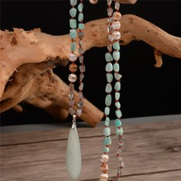 $enCountryForm.capitalKeyWord NZ - Fashion Bohemian Necklace Jewelry Natural Knotted Stone Amazonite Pendant Necklace 925 Sterling Silver Connector Dropshipping Y19050802