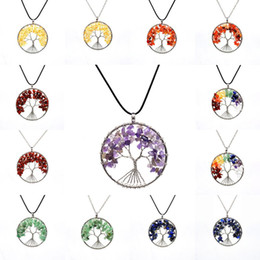 Quartz Pendants Australia - Free DHL 16 Styles Tree Of Life Quartz Pendant Necklace Handmade Rainbow 7 Chakra Natural Stone Wisdom Tree Necklaces Jewelry Gift H362Q F