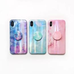 $enCountryForm.capitalKeyWord Australia - Fashion Marble Case For Iphone XS MAX XR X 8 7 6 Luxury Bling Shinny Soft TPU Stone Rock Aurora Cover +With Bracket Finger Grip Ring Holder