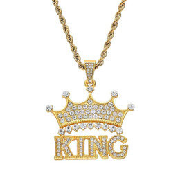 alloy king Australia - Fashion-crown king diamonds pendant necklaces for men women luxury letters pendants alloy rhinestone chain necklace gold silver jewelry