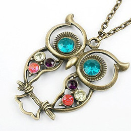 $enCountryForm.capitalKeyWord Australia - Women Sweater Coat Necklace Crystal Big Blue Eyed Owl Long Chain Pendant Necklace Women Jewelry Accessory Wholesale