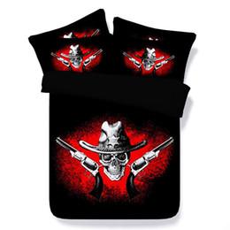 $enCountryForm.capitalKeyWord Australia - 3 Piece Bedding Set With 2 Pillow Shams Skull bed set Quilt Cover Skeleton Bedspreads Coverlets NO Comforter