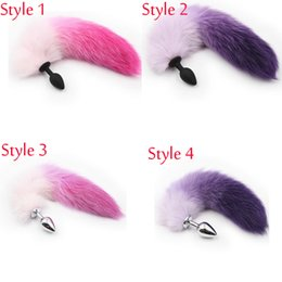 Silicone Toys Australia - Hot Sale Silicone Stainless Steel Butt Plug Purple Pink Fox Tail Anal Plug Sex Toys For Man Gays Women Adult Sex Products