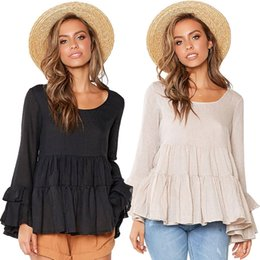 Ruffle high neck blouse online shopping - Women s Loose Ruffle Hem Long Sleeve High Low Peplum Blouse Top