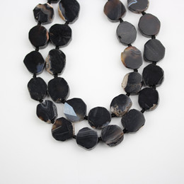 $enCountryForm.capitalKeyWord Australia - Full Strand,Smooth Black Agates Gem Stones Slabs Beads,Middle Drilled Slice Loose Beads Bulk