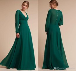 images western evening gowns Australia - Modest Long Sleeves Dark Green Bridesmaids Dresses For Western Weddings A Line V Neck Long Evening Prom Gowns Formal Wear