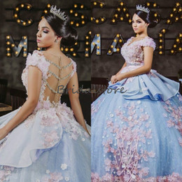 Discount sweet 15 flowers - Luxury blue Saudi Arabia puffy quinceanera dresses v neck cap sleeves beaded floral prom gowns illusion back princess sw