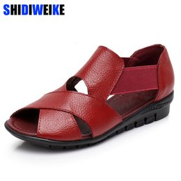 wedge leather sandals Australia - Brand 2019 Summer Gladiator Rome Casual Sandals Women Shoes Sandalia Feminina Genuine Leather Wedge Heel Comfort Sandals m936MX190902