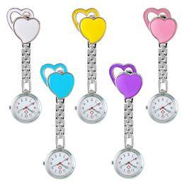 Clip Nurse Watch NZ - Pocket Medical Nurse Fob Watch Women Dress Watches Clip-on Pendant Hanging Quartz Clock Peach Heart Shape relogio de bolso