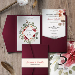 $enCountryForm.capitalKeyWord Australia - Flower Printed Burgundy Laser Cut Pocket Wedding Invitations with Belt, DIY Customizable Invites with Envelope, Free Shipped by DHL