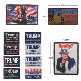 cap badges 2019 - Embroidery Trump 2020 cap Patch magic sticker Armband Make America Great Again Badge Hook loop Tactical Brassard Combat