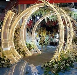 Wholesale gold stage props for sale - Group buy Luxury Iron sunshine board wedding arches grand event party backdrops props T Stage large arch road lead wedding flower wall stand props