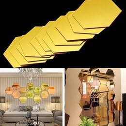 Diy wall tiles online shopping - Personality D Mirror Wall Stickers Decoration Pack Acrylic Hexagonal Remove Mirror Tile Decal DIY Home Room Staircase Decor HH9