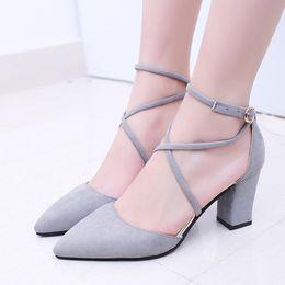 $enCountryForm.capitalKeyWord NZ - Designer Dress Shoes 2019 Fashion Summer Women Square heel Flock Pointed Toe Pumps High Heels Lace-up high quality x001