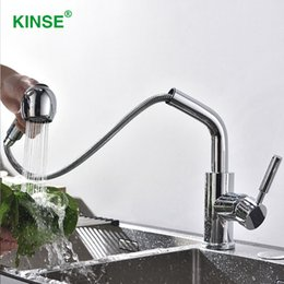 modern kitchen faucets Australia - KINSE Shining Chrome Pull Out Modern Faucet Single Hole Kitchen Faucet with Two Function Sprayer
