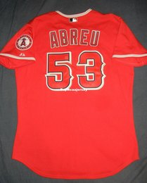 534ce56bd Cheap Retro  53 BOBBY ABREU Top Majestic Los Angeles Red Jersey Trout Mens  Stitched Baseball jerseys