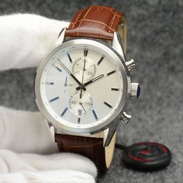 Brown Man Casual Watch Classic Australia - Classic Mens Watches Outdoor 44MM Quartz Chronograph Accurate Men Watch Simple White Dial With Brown Leather Band and Index Hour Markers