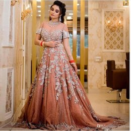 IndIa sexy Images online shopping - Brilliant India Style Formal Party Evening Dresses High Neck Short Sleeve Shinny Sequins Beaded Tassel Appliques Women Occasion Party Gowns