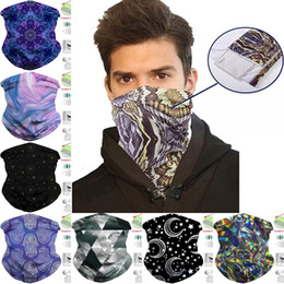 men face scarf mask Australia - DHL Shipping Bandanas Face Mask with Filter Pocket Balaclava Headband Fashion Neck Gaiter Motorcycle Scarf for Women Men Cycling Masks B67F