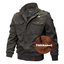 Wholesale winter army uniform for sale – winter 2018 Winter Men s Uniform Velvet Warm Bomber Jackets Army Motorcycle Pilot Hiking Jacket Hunting Coat Cargo Outerwear