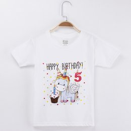 kid red tshirts UK - 2019 Kids Clothes Girls T-shirt Happy Birthday Kawaii Unicorn 100% Cotton Short Sleeve Children Clothing Boys Tshirts Baby Tees J190611