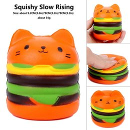 super squishy toy Canada - Bravo Super cute Burger cat Food Squishies toy Cartoon doll Squishy Phone Pendant Slow Rising Decompression Toy for baby kids toys
