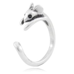Wholesale Boho Chic Vintage Silver Brass Knuckle Adjustable Mouse Animal Wrap Weeding Ring Ladies Fashion Jewelry Gift