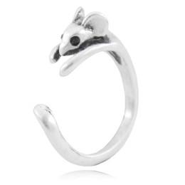 $enCountryForm.capitalKeyWord UK - Boho Chic Vintage Silver Brass Knuckle Adjustable Mouse Animal Wrap Weeding Ring Ladies Fashion Jewelry Gift