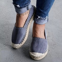 fishermen flats Australia - Oeak Women Shallow Mouth Breathable Espadrilles Flats Solid Moccasins Female Flat Bottom Linen Cloth -slip Fisherman Shoes