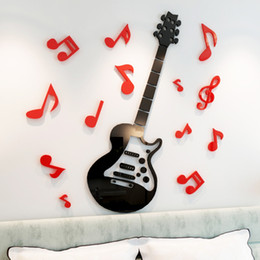 $enCountryForm.capitalKeyWord Australia - Guitar acrylic 3d crystal wall stickers Child room living room DIY Art wall decor Cartoon music Room notes wall stickers