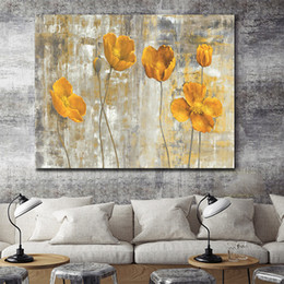 modern flower oil painting canvas Australia - Handpainted Modern Abstract Yellow Flowers Art Oil Painting On Canvas Wall Art For Home Decor High Quality l45