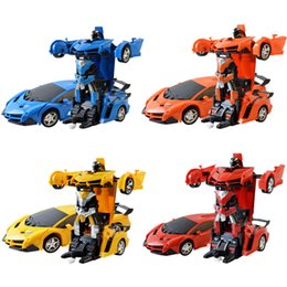 flash car key NZ - New One Key Deformation Remote Control Robot Racing Car Children Electric Simulation Model Car Toys for Kid Birthday Gift 2019